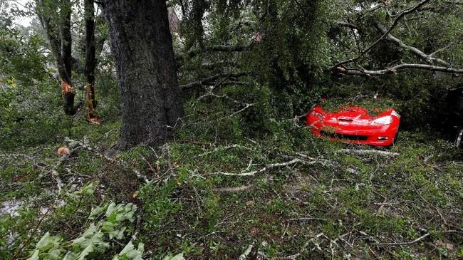 Dedaunan, ranting, dan benda-benda lainnya berserakan dan menutupi suatu mobil mewah di kota Wilmington, Carolina Utara. (REUTERS/Jonathan Drake)