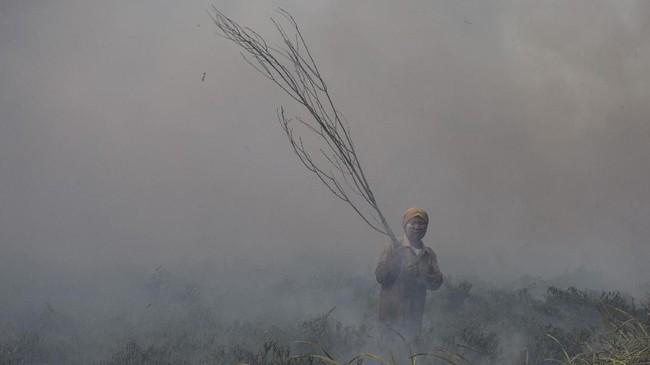 Warga pun secara swadaya berusaha memadamkan kebakaran lahan yang terjadi di Desa Muara Baru, Pemulutan, Ogan Ilir (OI), Sumatera Selatan, Senin (17/9). (ANTARA FOTO/Nova Wahyudi)