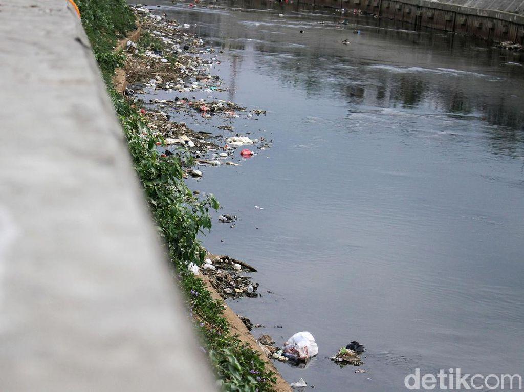 Potret Sampah di Pinggiran Ciliwung Saat Surut