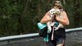Badai Florence yang menghantam Amerika Serikat tak hanya menakutkan bagi manusia, tapi juga hewan peliharaan. (Reuters/Jonathan Drake)