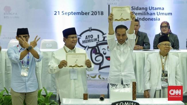 Saat pengambilan nomor urut, Jokowi-Ma'ruf mendapat nomor urut 1. Sedangkan Prabowo-Sandi mendapat nomor urut 2 untuk Pemilu 2019.