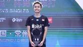 Sukses di China Terbuka 2018 membuat Anthony Sinisuka Ginting untuk kali pertama merebut gelar di level Super 1000. (Dok. PBSI)