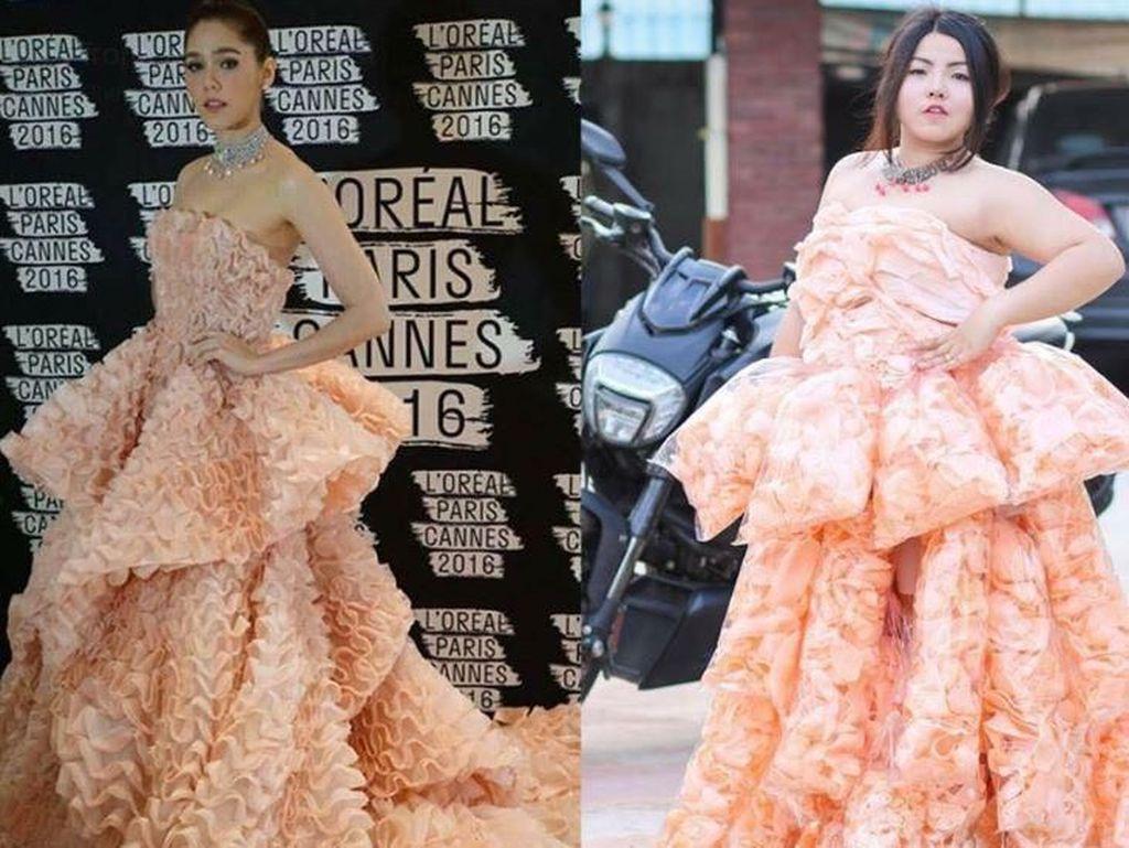 Parodikan Baju Artis, Wanita Ini Pakai Gaun dari Terung hingga Kerupuk