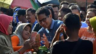 Sandi Kembali Kunjungi Pasar, Prabowo di Hambalang