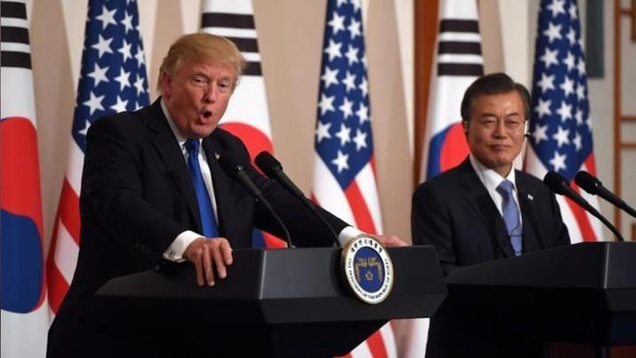 Presiden AS Donald Trump dan Presiden Korea Selatan Moon Jae-in