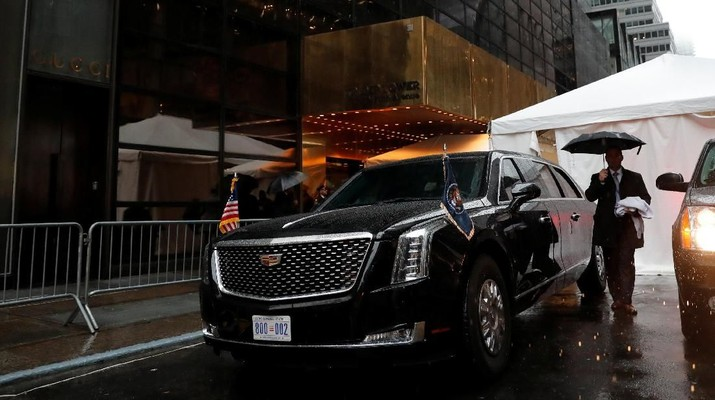 U.S. President Donald Trump's brand new version of the General Motors built Cadillac presidential limousine known as