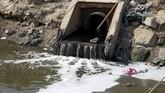 Sungai Shatt-al-Arab yang melintasi kota itu pun sekarang dipenuhi oleh bakteri, bahan kimia, alga beracun, dan konsentrasi garam yang membuat air sungai terasa asin (REUTERS/Alaa al-Marjani)