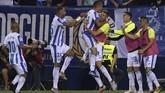 Tuan rumah akhirnya mampu mencetak gol keunggulan berkat aksi Oscar Rodriguez. Leganes pun berhasil mempertahankan skor 2-1 atas Barcelona. (AFP PHOTO/OSCAR DEL POZO)