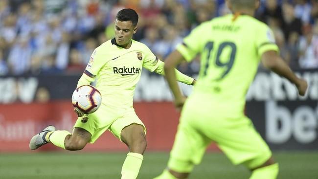 Gelandang serang Barcelona Philippe Coutinho sebenarnya mampu membawa Barcelona unggul 1-0 atas Leganes di Stadion Municipal Butarque. (AFP PHOTO/OSCAR DEL POZO)