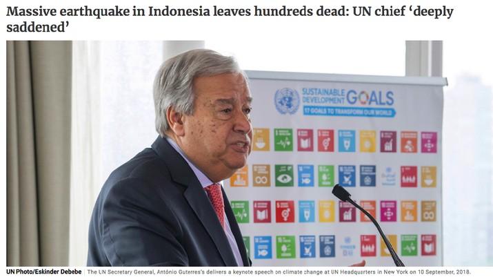 Sekjen PBB Antonio Guterres ucapkan belasungkawa kepada korban gempa dan tsunami Palu