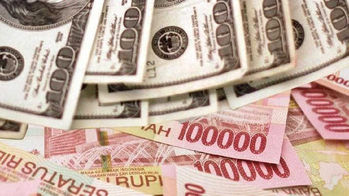 Rupiah berbalik menguat terhadap dolar Amerika Serikat (AS), dengan penguatan sebesar 10 poin, menghapus depresiasi pagi tadi.