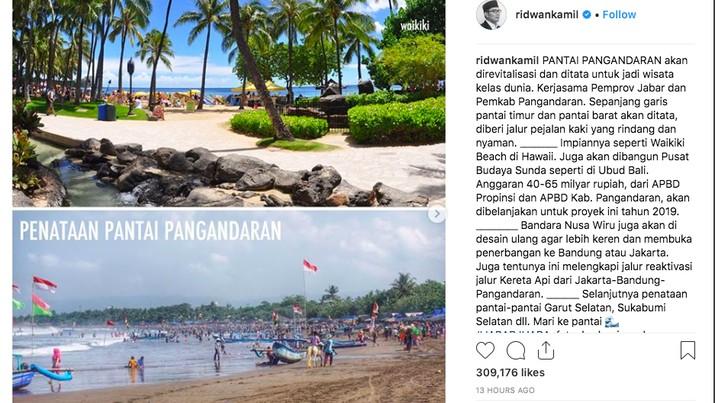 Gubernur Jawa Barat yang biasa disapa Kang Emil tersebut akan menyulap pantai Pangandara seperti pantai di Hawaii.