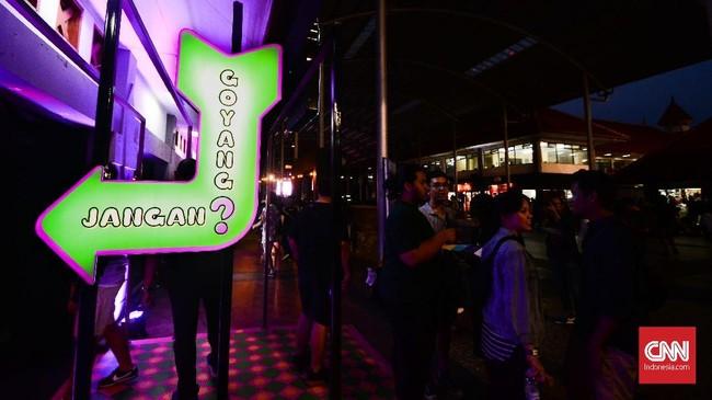 Pada salah satu bagian di Synchronize Fest 2018, instalasi Helo Dangdut yang dibuat bersama Badan Ekonomi Kreatif menjadi salah satu instalasi paling menarik. (CNN Indonesia/M Andika Putra)