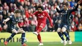 Pergerakan trio Liverpool juga tak efektif di laga ini. Mohamed Salah tidak bisa jadi pemecah kebuntuan tim. (Reuters/Carl Recine)