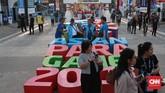 Panitia penyelenggara Asian Para Games 2018 [INAPGOC] telah berpaya menarik minat pengunjung dengan menampilkan hiasan-hiasan di kompleks Gelora Bung Karno. (CNN Indonesia/Andry Novelino)