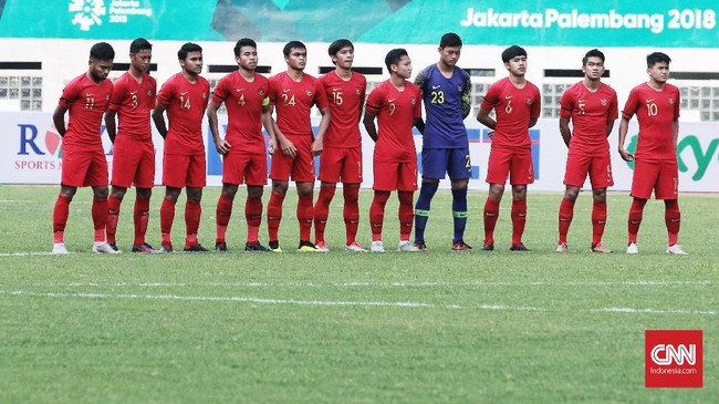 Timnas Indonesia mematangkan persiapan jelang Piala Asia U-19 2018 dengan menjalani laga uji tanding menghadapi timnas Arab Saudi di Stadion Wibawa Mukti, Cikarang, Rabu (10/10) (CNN Indonesia/Andry Novelino)