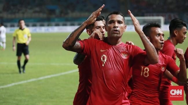 Timnas Indonesia mencetak gol pertama lewat Beto Goncalves di menit ke-19. Gol ini makin mengangkat semangat Skuat Garuda. (CNN Indonesia/Andry Novelino)
