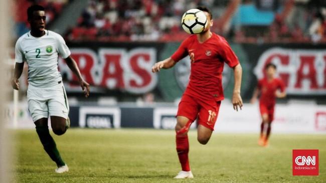 Setelah menghadapi Arab Saudi, Timnas Indonesia akan beruji tanding dengan Jordania, Sabtu (13/10) pada laga uji tanding terakhir sebelum tampil di Piala Asia U-19 2018. (CNN Indonesia/Andry Novelino)