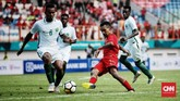 Todd Rivaldo Alberth Ferre yang masuk pada babak kedua tidak mampu menghindarkan Timnas Indonesia dari kekalahan 1-2 dari Arab Saudi. (CNN Indonesia/Andry Novelino)