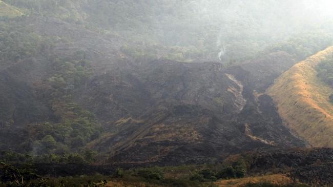Tim gabungan terus berupaya memadamkan api yang masih menyala di kawasan Gunung Ciremai blok Batuarca Panyusupan dan Karangdinding. ANTARA FOTO/Dedhez Anggara