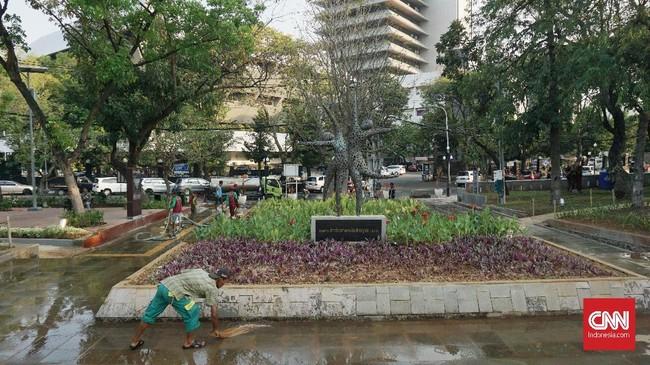 Ada pula Taman Pandawa Lima yang dibuat oleh Komroden Haro, kemudian Pelataran Penikmat Seni, Amphitheater, dan Area Hijau. (CNN Indonesia/Agniya Khoiri)