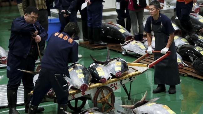 Sekalipun Tsukiji sudah pindah ke lokasi baru, namun sebagian orang yang tak ingin pindah masih terus melakukan unjuk rasa.(REUTERS/Issei Kato)