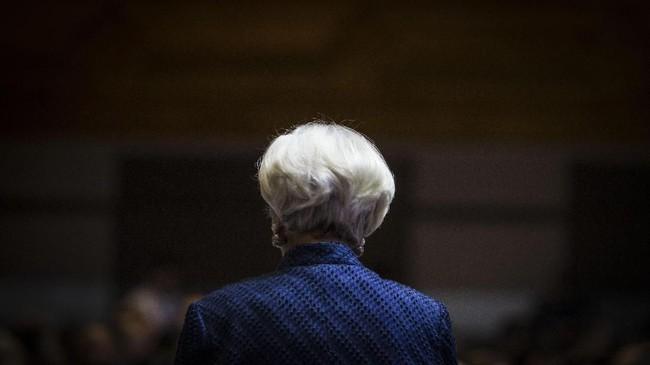 Direktur Pelaksana IMF Christine Lagarde menghadiri acara The Bali Fintech Agenda. (ANTARA FOTO/Afriadi Hikmal).