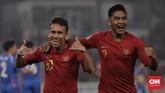 Timnas Indonesia U-19 akhirnya mampu memecah kebuntuan pada menit ke-50 melalui gol Egy Maulana Vikri memanfaatkan kesalahan lini belakang Taiwan dalam mengantisipasi umpan Witan Sulaeman. (CNN Indonesia/Hesti Rika)