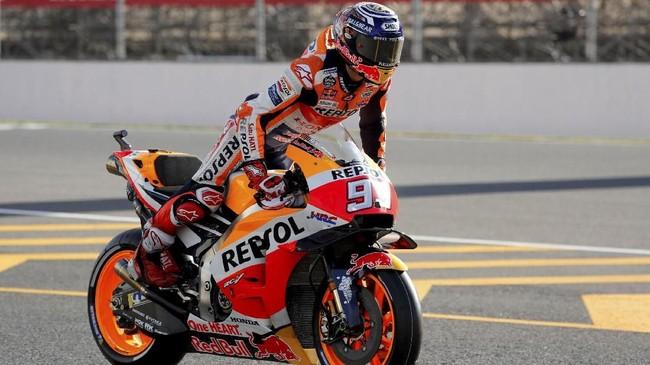 Pada sesi kualifikasi MotoGP Jepang 2018, Marc Marquez gagal menjadi yang tercepat. Juara bertahan MotoGP itu hanya menempati peringkat keenam dan akan start dari baris kedua. (REUTERS/Toru Hanai)