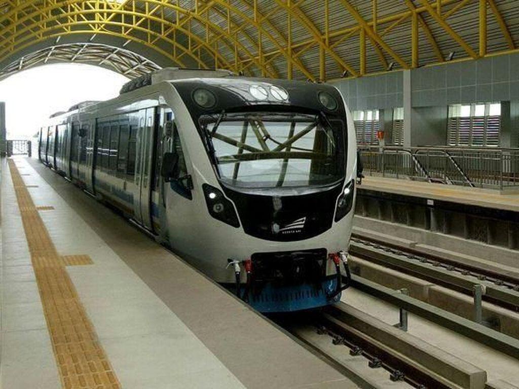 Berikutnya LRT Palembang yang progres pengerjaan stasiunnya saat ini masih terus dikebut. Raja Adil Siregar/detikcom.