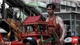 Tatung menjadi bagian dari acara Kirab Budaya dan Ruwat Bumi yang digelar untuk melestarikan budaya khususnya masyarakat Tionghoa dan ulang tahun Bio Fat Cu Kung (Se Jit). CNN Indonesia/Andry Novelino