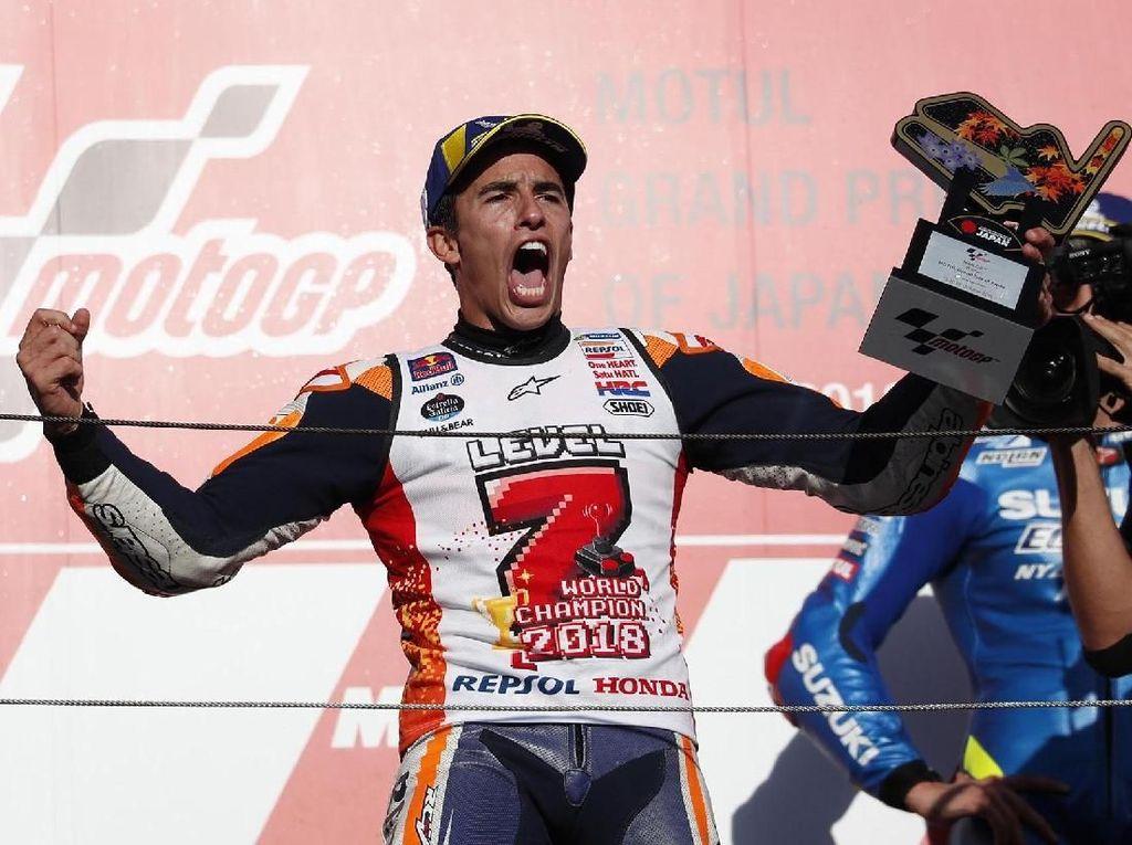 Ini adalah titel juara dunia MotoGP Marquez kelima dalam kariernya. Sebelumnya, pebalap Spanyol itu juara di 2013, 2014, 2016, dan 2017. Reuters/Toru Hanai.