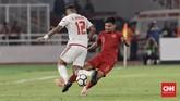 Dalam laga melawan UEA, Barisan pertahanan Timnas Indonesia U-19 menampilkan permainan yang lebih solid dan rapi ketimbang laga menghadapi timnas Qatar. (CNN Indonesia/ Hesti Rika)