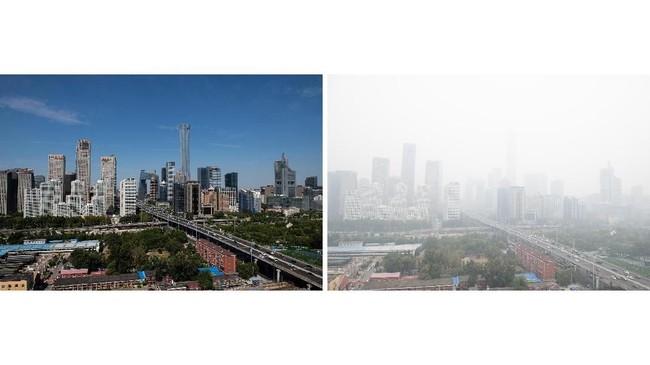 Jika di berbagai belahan dunia lain udara bersih tidak menjadi satu berita penting, di ibu kota China ini, kabar tersebut disambut antusias. (AFP Photo/Nicolas Asfouri)