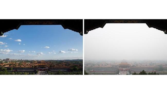 Perbaikan polusi mulai terlihat pada 2016-2017, ketika perekonomian China kembali meningkat. (AFP Photo/Nicolas Asfouri)