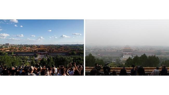 Sembilan bulan belakangan, warga Beijing menikmati satu hal yang sangat jarang mereka rasakan, menghirup udara bersih di bawah langit biru, tanpa polusi tebal. (AFP Photo/Nicolas Asfouri)