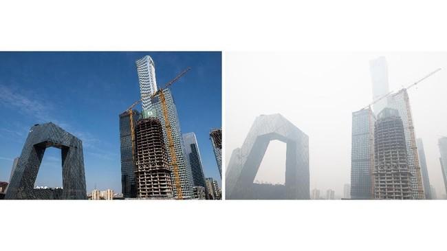 Berdasarkan pengamatan, ada sejumlah fakta unik yang ditemukan, salah satunya perkembangan penanganan polusi sejalan dengan peningkatan perekonomian China. (AFP Photo/Nicolas Asfouri)