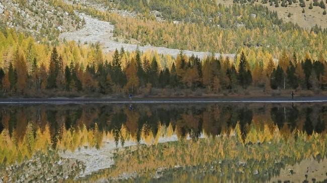 Tak cuma mendaki, turis juga bisa berenang atau berkemah di sekitar Danau Derborence.