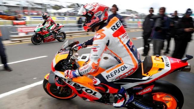 Marc Marquez menjalani MotoGP Australia 2018 setelah memastikan gelar juara dunia 2018 pada pekan lalu di Jepang. (REUTERS/Brandon Malone)