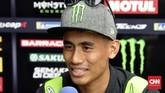Pebalap tuan rumah yang memperkuat Tech 3 Yamaha Hafizh Syahrin berbicara kepada media jelang MotoGP Malaysia. (CNN Indonesia/Haryanto Tri Wibowo)