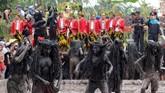 Kebo-keboan berada di dalam kubangan saat ritual di Alasmalang, Banyuwangi, Jawa Timur. (ANTARA FOTO/Budi Candra)