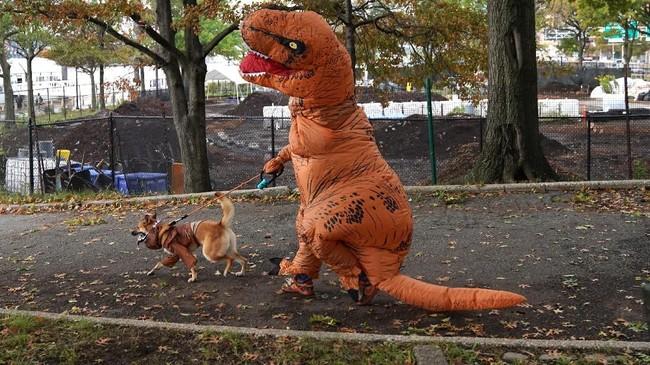 Seekor anjing berjalan dengan tuannya yang berkostum dinosaurus pada parade Annual Tompkins Square Halloween Dog Parade ke-28 di East River Park Amphitheatre, New York. (AFP/Timothy A. Clarly)