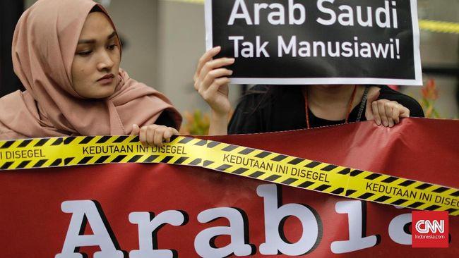 Protes Eksekusi TKI Tuti, Demonstran 'Segel' Kedubes Saudi