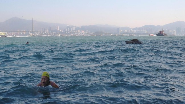 Selama hampir 30 tahun, Sandy Lam, telah berenang mengarungi perairan berombak di bagian barat Hong Kong, berdekatan dengan salah satu pelabuhan tersibuk di negara tersebut. (REUTERS/Hannah McKay)