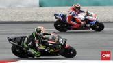 Pole position MotoGP Malaysia 2018 menjadi pebalap Tech3 Yamaha Johann Zarco menyusul penalti yang didapat Marc Marquez. (CNN Indonesia /Haryanto Tri Wibowo)