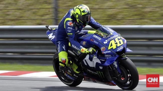 Valentino Rossi tampil apik sejak awal balapan. Ia bisa langsung melesat dan memimpin balapan. (CNN Indonesia/Haryanto Tri Wibowo)