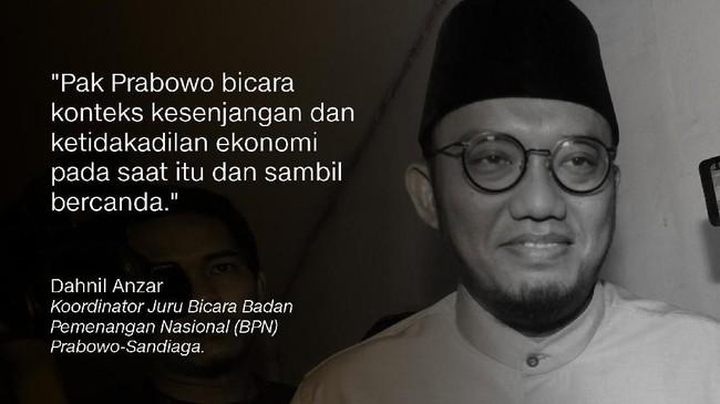 Danhil Anzar, Koordinator Juru Bicara Badan Pemenangan Nasional (BPN) Prabowo-Sandiaga.