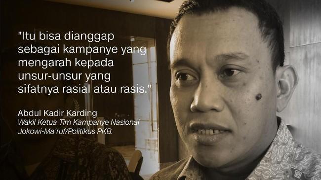 Abdul Kadir Karding, Wakil Ketua Tim Kampanye Nasional Jokowi-Ma'ruf/Politikus PKB.