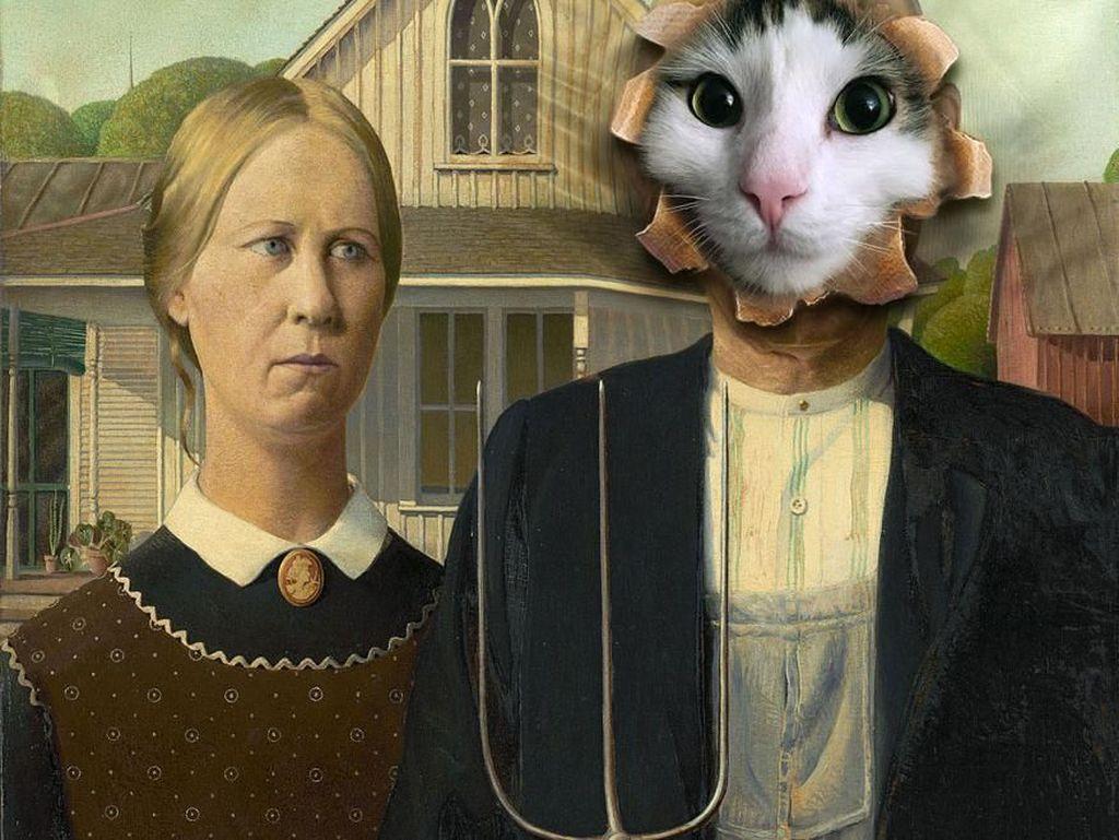 Tak hanya mengkombinasikan dengan hewan lain, Audrey juga membuat kucing ini seperti lukisan.(Foto: Boredpanda)