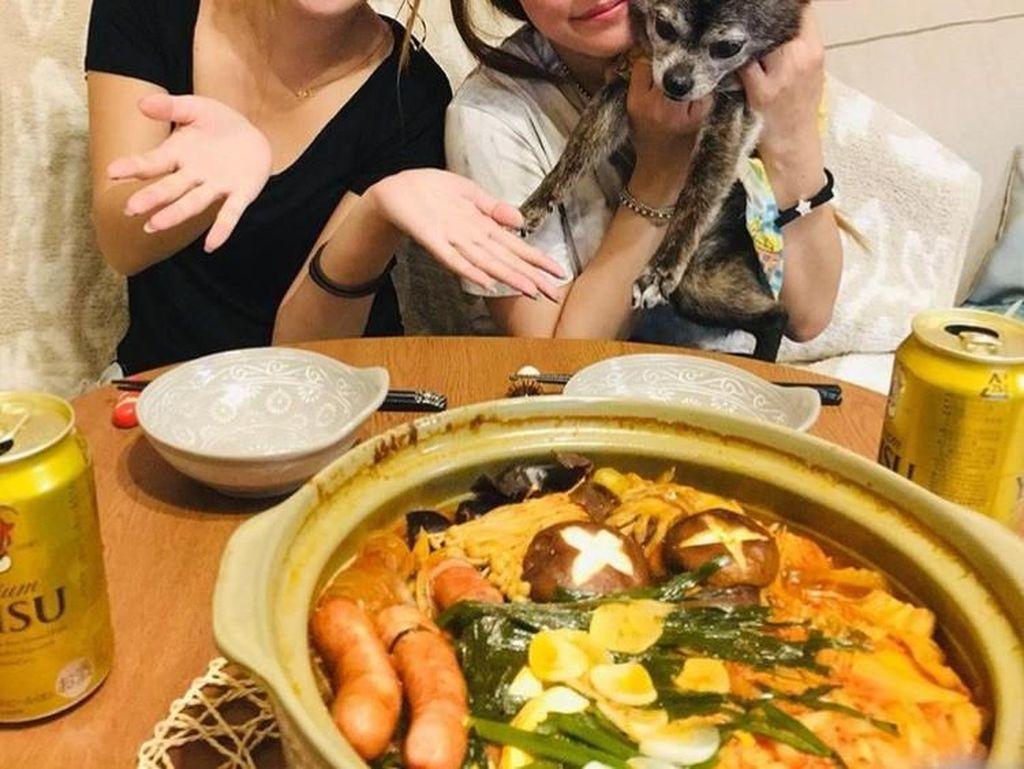 Meski sudah berusia 32 tahun, tapi Miyabi masih terlihat imut dan awet muda. Ditemani kucing yang menggemaskan, acara makan malam di rumah bersama temannya jadi semakin seru. Foto: Instagram @maria.ozawa